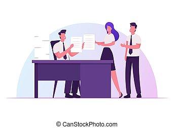 ilustração, apartamento, empregados, tarefas, companhia, eficaz, caricatura, saliência, delegar, autoridade, produtivo, sentando, escritório, gerência, vetorial, liderança, responsibilities., conceito, dar, negócio, escrivaninha