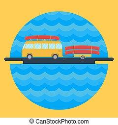 ilustração, apartamento, estilo, acampamento, canoa, ...