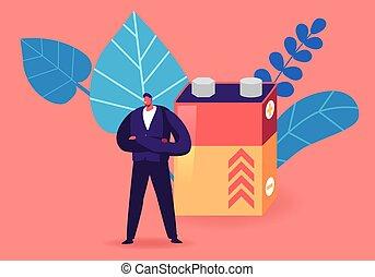 ilustração, apartamento, macho, personagem, enorme, rechargeable, caricatura, reduzir, e-waste, frente, minúsculo, levantar, concept., terra, recicle, vetorial, natureza, poluição, lixo, accumulator., reciclagem, proteção, ácido, eletrônica