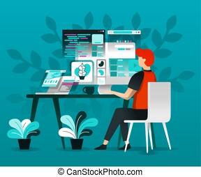 ilustração, apartamento, página, vetorial, aterragem, bandeira, cartaz, móvel, trabalho, apps, /, site web, voador, ui, teia, conceitos, homepage, ux, desenhistas, internet., modelo