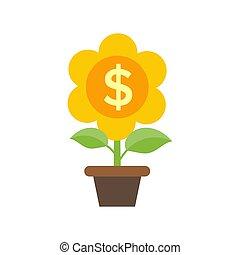 ilustração, apartamento, planta, conceito, dinheiro, pote...