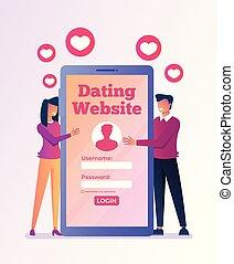 ilustração, apartamento, smartphone, relacionamento, gráfico, isolado, virtual, vetorial, desenho, amantes, online, internet., namorando, reunião, website., ícone