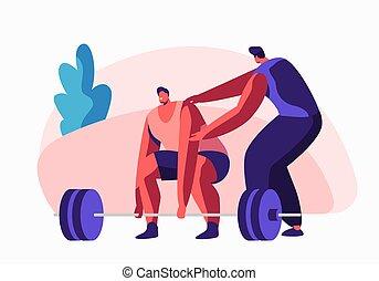 ilustração, apartamento, treinamento, treinador, powerlifter, help., weight., malhação, personagem, desportista, caricatura, atividade, lifestyle., vetorial, exercícios, macho, saudável, bodybuilding, desporto, ginásio, sportswear