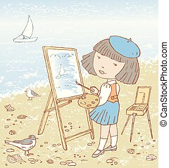 ilustração, artista, pequeno, quadro, mar, menina
