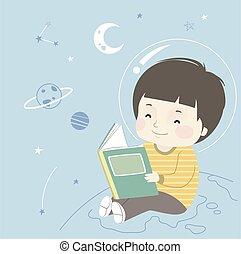 ilustração, astronomia, menino, espaço, livro, criança