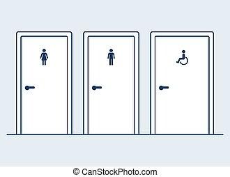 ilustração, banheiro, portas