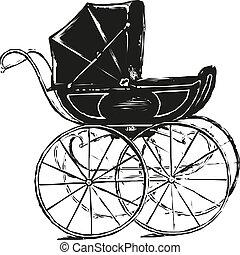 ilustração, bebê, eps, vetorial, style., 10, carruagem, antigas