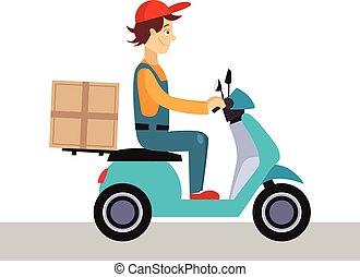 ilustração, bicicleta, homem, vetorial, entrega