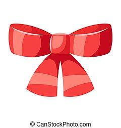 ilustração, bow., vermelho