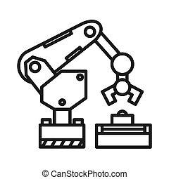 ilustração, braço, robotic, desenho