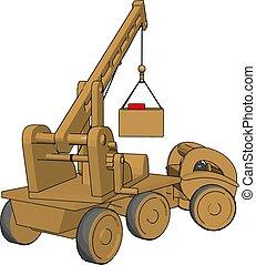 ilustração, brinquedo, veículos, amarela, experiência., vetorial, construção, branca
