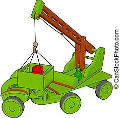 ilustração, brinquedo, veículos, experiência., vetorial, verde, construção, branca