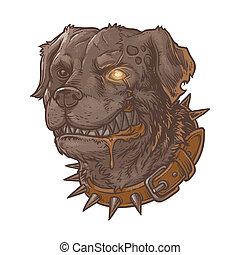 ilustração, cão, mal, louco