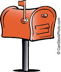 ilustração, caixa postal