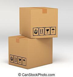 ilustração, caixas, fundo, branca, papelão, 3d