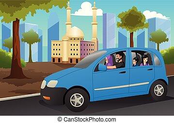 ilustração, car, muçulmano, dirigindo, família