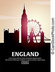 Ilustração, cartaz, Viagem, Inglaterra, vetorial, silhuetas, marcos