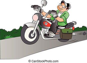 ilustração, cavaleiro motocicleta