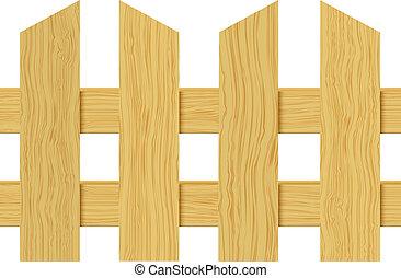 Ilustração, cerca, madeira, isolado, fundo, vetorial, branca