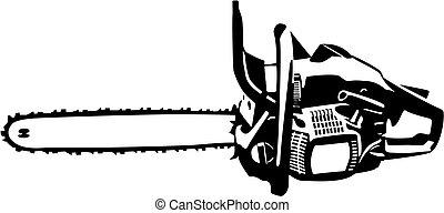 ilustração, chainsaw, isolado
