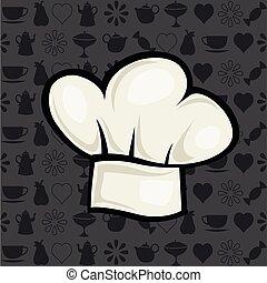 ilustração, chapéu cozinheiro, estilo, vetorial, caricatura