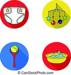 ilustração, chocalho, estilo, jogo, ícones, sobre, web., crianças, apartamento, símbolo, nascido, brinquedo, vetorial, cobrança, berço, bebê, fraldas, bath., estoque