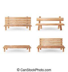 Ilustração, clássicas, madeira, Liso, banco, realístico, vetorial, fundo, branca, mobília