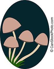 ilustração, cogumelos, experiência., vetorial, pequeno, branca