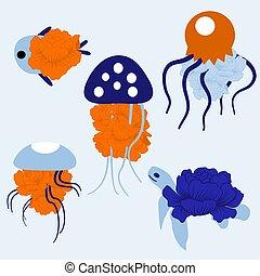 ilustração, coloridos, vetorial, medusas