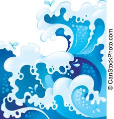 ilustração, com, gigante, ondas oceano
