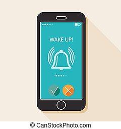 ilustração, com, um, móvel, telefone., dispositivo, em,...