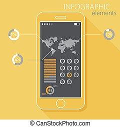 ilustração, com, um, móvel, telefone., jogo, de,...