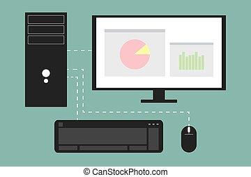 ilustração, computador, jogo, vetorial, desktop