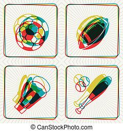 ilustração, conceito, de, desporto, ícones, com, efeito, overlay.