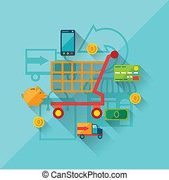 ilustração, conceito, de, internet fazendo compras, em,...