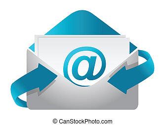 ilustração, conceito, e-mail, desenho