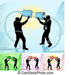 ilustração, conceito, negócio, ligar