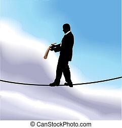 ilustração, conceito, negócio, tightrope