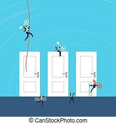 ilustração, conceito, sucesso, negócio, portas