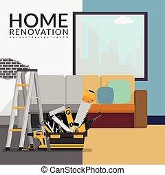 ilustração, concept., contratante, vetorial, após, sala, renovação, antes de, lar