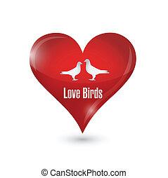 ilustração, coração, desenho, pássaros, amor