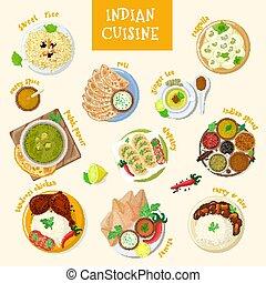 ilustração, cozinha, jogo, fundo, pratos, alimento, tigela, naan, branca, índia, isolado, ásia, refeição, indianas, vetorial, asiático, temperado, masala, galinha, arroz, tandoori