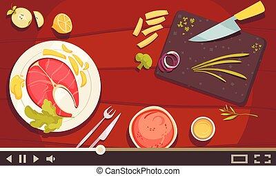 ilustração, cozinhar, escola