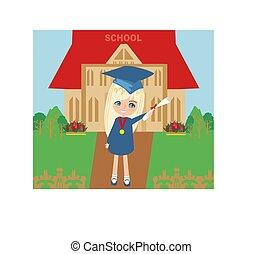 ilustração, criança, diploma, dela, segurando