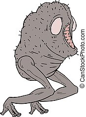 ilustração, criatura, feio