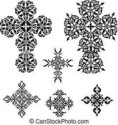 ilustração, crucifixos