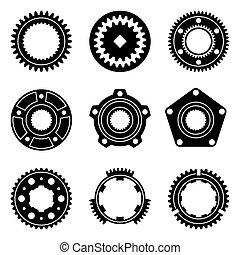 ilustração, cubo, assembly., car, pulley., vetorial, parts.,...