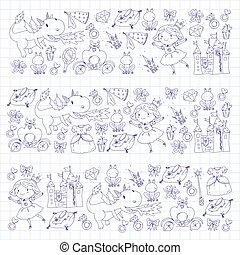 ilustração, cute, pequeno, coloração, magia, fada, vestido, ícones, coroa, wand., book., página, conto, fantasia, dragon., menina, frog., unicórnio, castelo, princesa