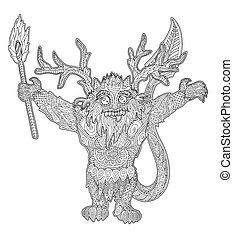 ilustração, cute, tocha, monstro, flamejante