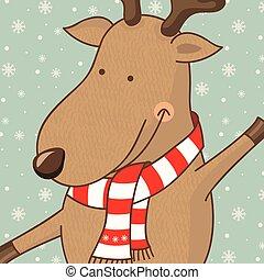 ilustração, cute, vetorial, deer., caricatura